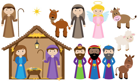 three month: Vector Nativity Collection