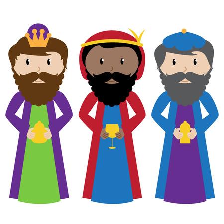 Vector Collectie van de Drie Wijzen of Magiërs Stock Illustratie