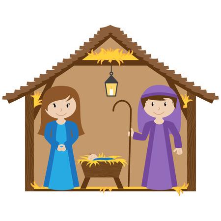 ベクトルの飼い葉桶と赤ちゃんとのキリスト降誕のシーン