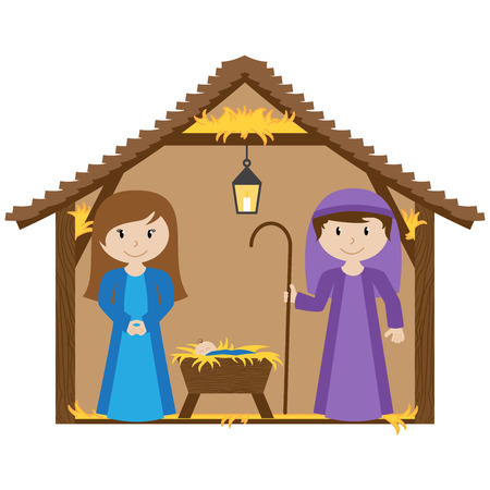 inn: Vector Nativity Scene with Manger and Baby