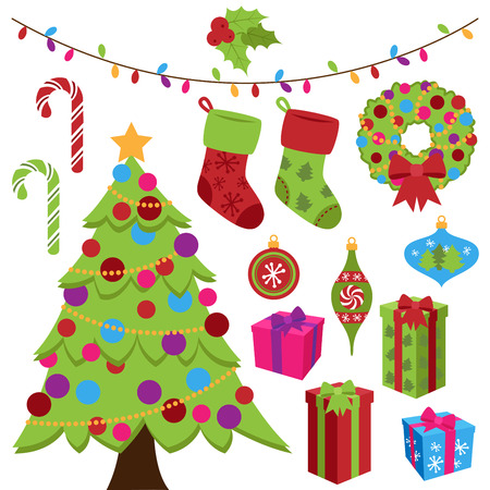 Collection of Cute Christmas Items Vector