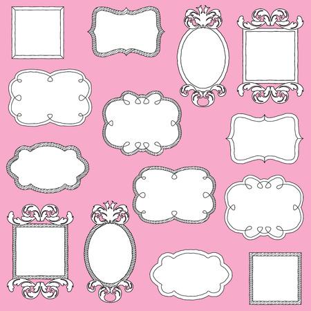 label frame: Vector Set of Doodle Frames and Borders Illustration