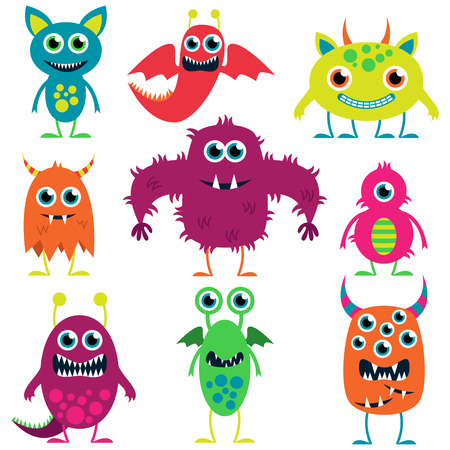Vector Collection of Cute Monsters Çizim