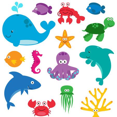 cangrejo: Vector Conjunto de las criaturas del mar lindas Vectores