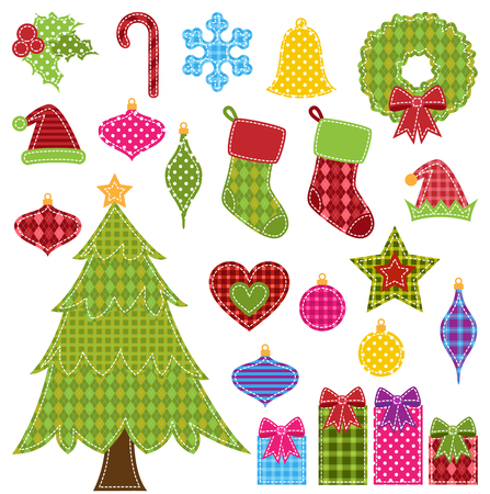 Vector Set of Patchwork Christmas Elements Vector