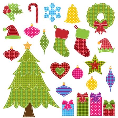 quilt: Vector Set of Patchwork Christmas Elements