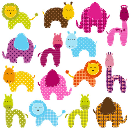 isolated animal: Vector Set of Patchwork Animals