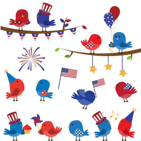 pinwheel: Set of Patriotic Fourth of July Themed Cartoon Birds Illustration