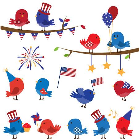 Set of Patriotic Fourth of July Themed Cartoon Birds Illustration