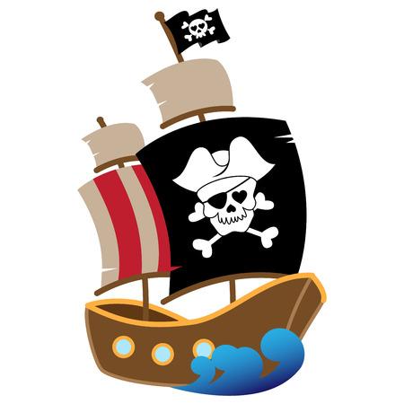sombrero pirata: Ilustración vectorial de un barco pirata