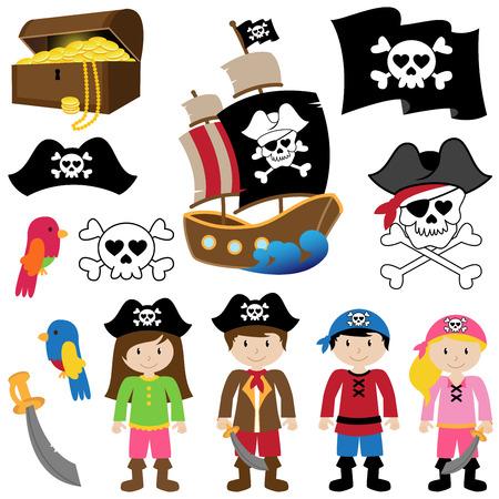 sombrero pirata: Ilustraciones Vectoriales de Piratas