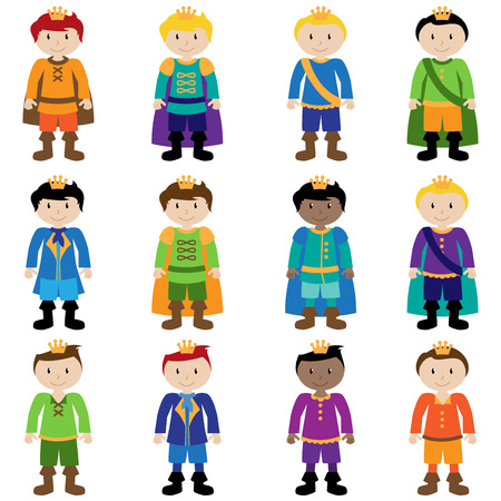Vector Set of Cute Cartoon Princes Vector