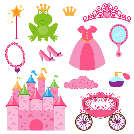 Vector Set of Princess and Fairy Items Vector