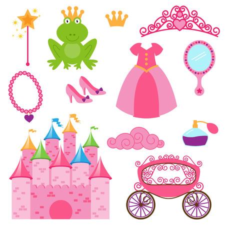 Vector Set van Princess en Fairy Items Stock Illustratie