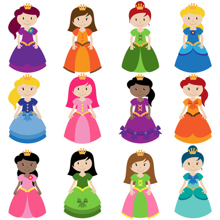 costume ball: Vector Collection of Pretty Princesses Illustration