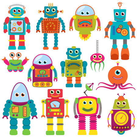 Vector Collection of Colorful Retro Robots Çizim