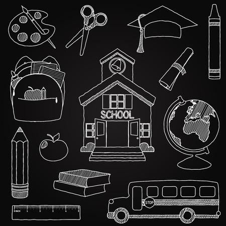 teaching crayons: Vector Set di Hand Drawn lavagna Doodle Scuola Vettori Vettoriali