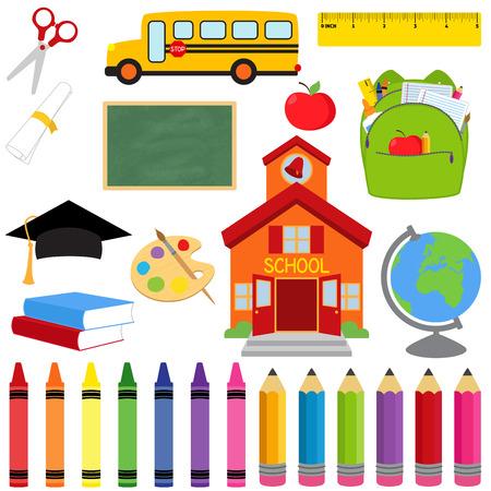 Vector collectie van schoolbenodigdheden en afbeeldingen