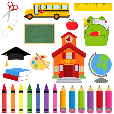 Vector Collection of School Supplies and Images Çizim