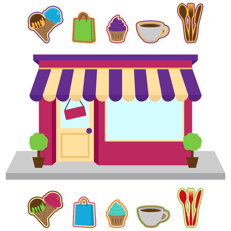 Vector Store or Shop with Signs Illustration