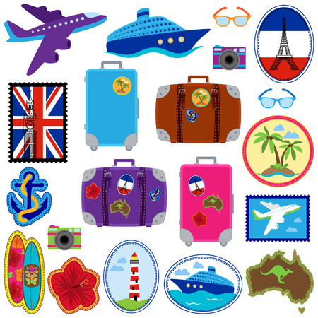 flag australia: Vector Collection of Travel Stickers, Stamps, Badges and Elements
