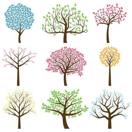 arbol genealógico: Vector Colección de estilizada Siluetas del árbol