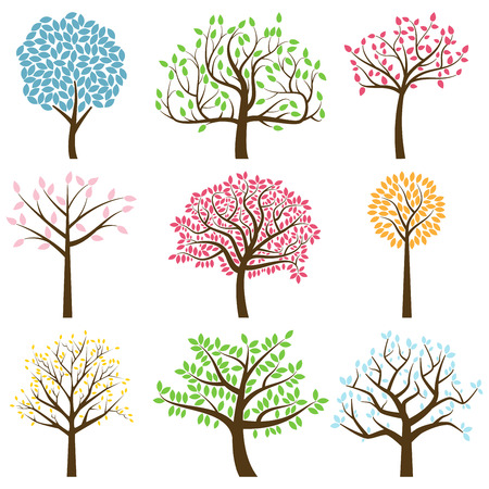 Vector Collection of Stylized Tree Silhouettes Vector
