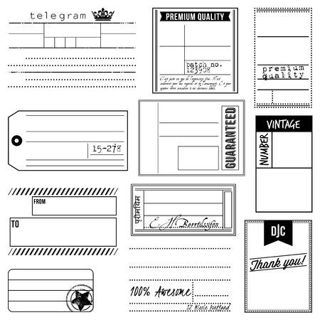 telegrama: Vector conjunto de etiquetas y etiquetas Vintage Inspired Vectores