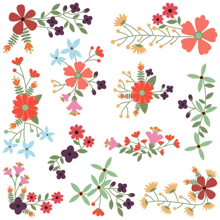 Vector Set of Vintage Style Flower Clusters  イラスト・ベクター素材