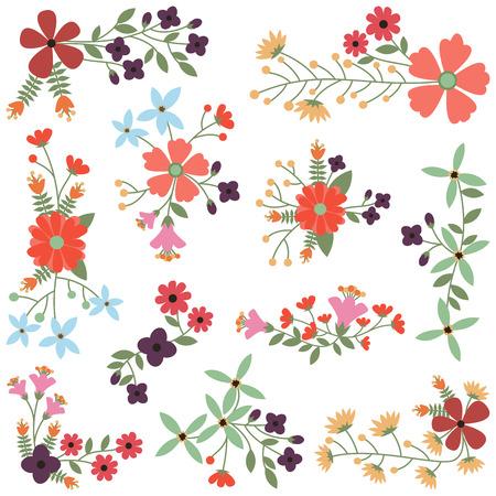 Vector Set of Vintage Style Flower Clusters Illustration