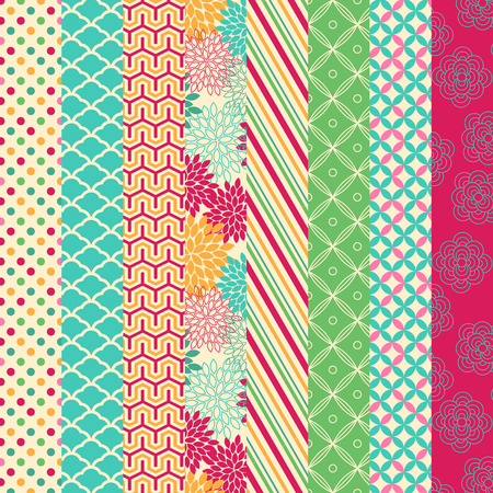 Vector Collection of Bright and Colorful Backgrounds or Digital Papers Illustration