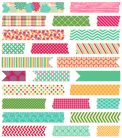 paper arts and crafts: Vector Collection of Cute Patterned Washi Tape Strips Illustration