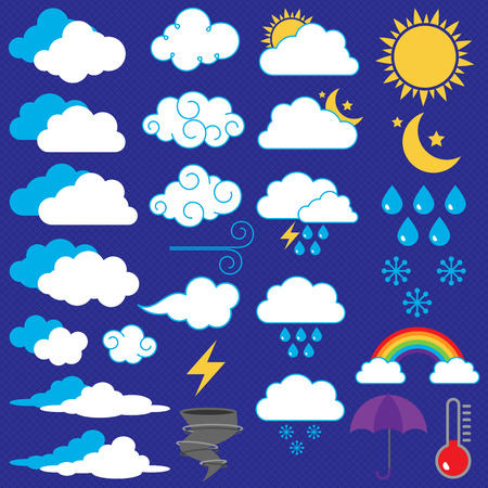 storm clouds: Vector Collection of Weather Icons and Symbols Illustration