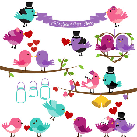 themed: Vector Collection of Wedding and Love Themed Birds Illustration