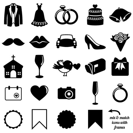 wedding cake: Vector Collection of Wedding Icons and Silhouettes with Frames