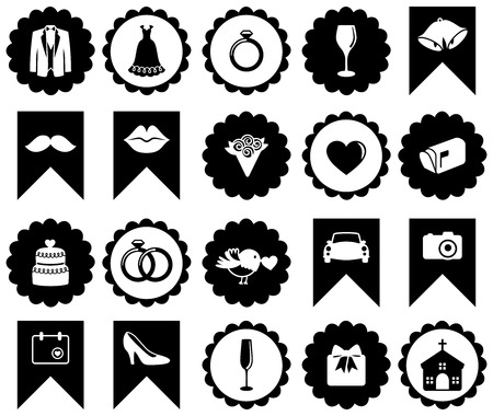 Vector Collection of Wedding Icons and Silhouettes with Frames Vector