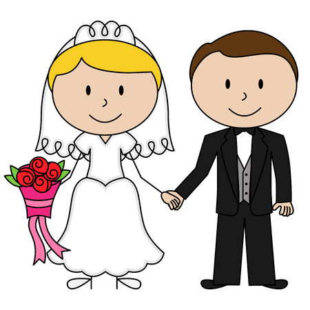 Vector Bride and Groom Stick Figures Vector