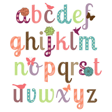 lettres alphabet: Girly Alphabet Vecteur Set