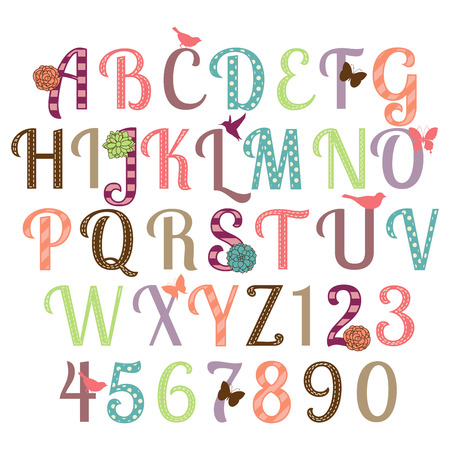 number of animals: Girly Alphabet Vector Set