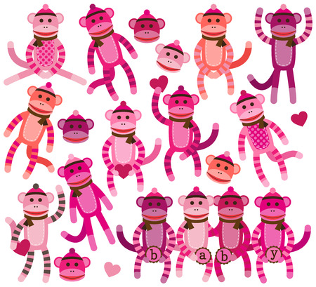 Collection of Girl Sock Monkey Vectors Vector