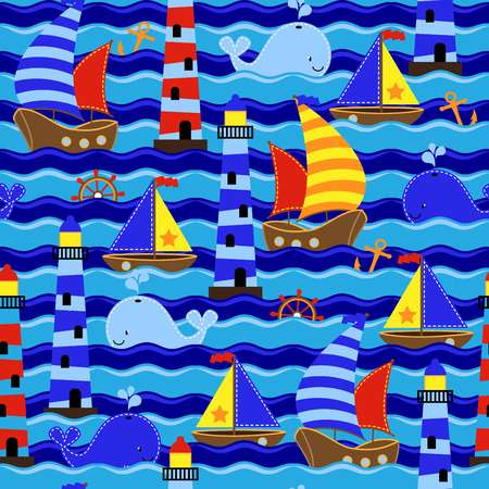 Seamless Tileable Nautical Themed Vector Background or Wallpaper Vector