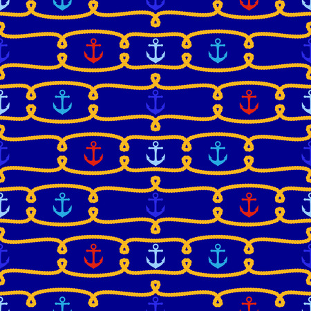 Seamless Tileable Nautical Themed Vector Background or Wallpaper