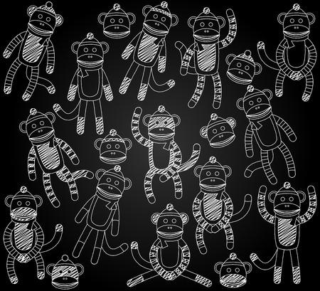 Vector Collection of Cute Doodle Chalkboard Sock Monkeys Vector