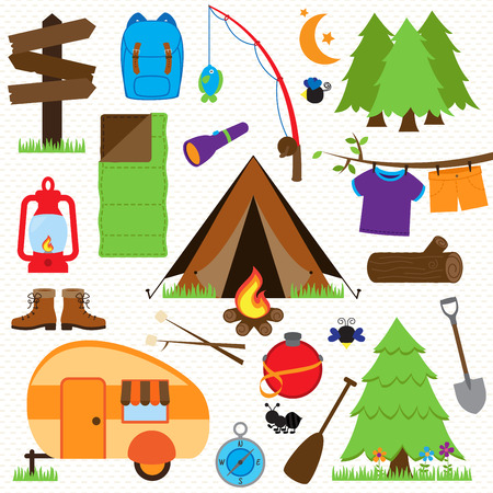 Collection of Camping and Outdoors Themed Images Vector