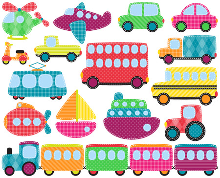 Collection of Cute Patchwork Style Transportation   Vettoriali
