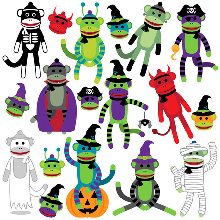 Vector Collection of Adorable Halloween Themed Sock Monkeys Vector