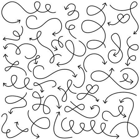 Collection of Doodled Squiggly Arrows