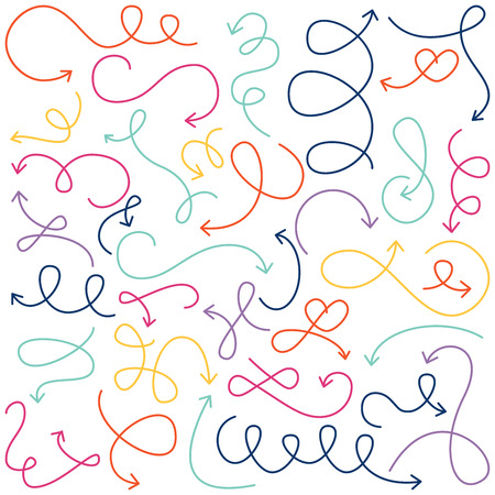 doodling: Collection of Doodled Squiggly Arrows