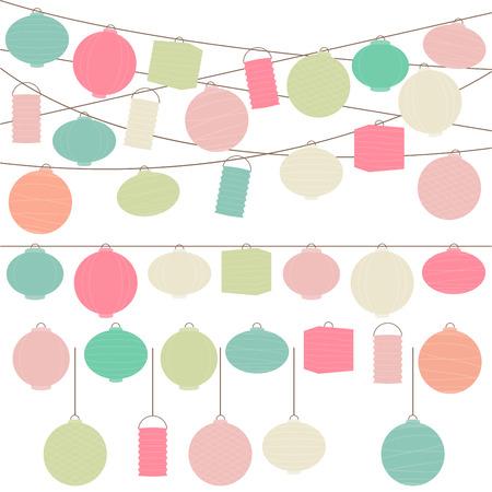 パステル調着色された休日の紙灯籠とライト ベクトルを設定