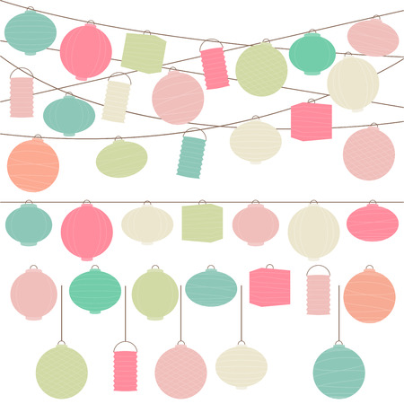 lantern festival: Vector Set of Pastel Colored Holiday Paper Lanterns and Lights